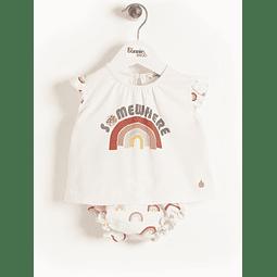 Conjunto camisa e tapa fraldas - Peach Rainbow