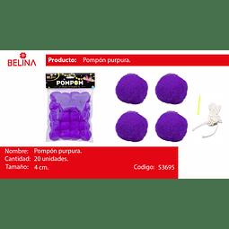 Pompon purpura 4cm 20pcs