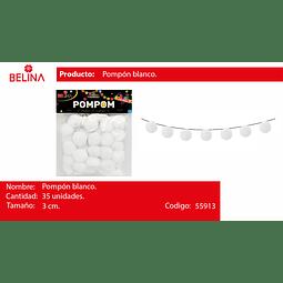 Pompon blanco 3cm 35pcs