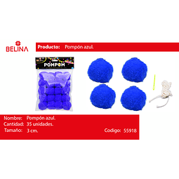 Pompon Azul 3cm 35pcs