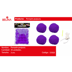 Pompon purpura 3cm 35pcs