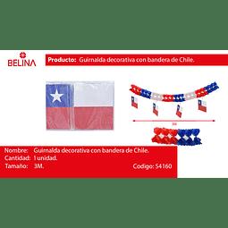 GUIRNALDA DECORATIVA CON BANDERA DE CHILE