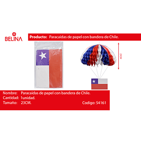 Paracaidas de papel con bandera de chile