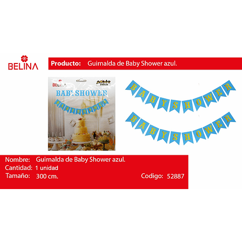Banderin baby shower azul