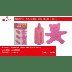 Adhesivos de oso y biberon rosa