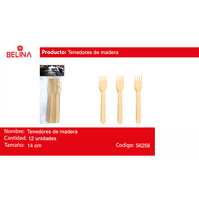 Tenedor de madera 12pcs 14cm