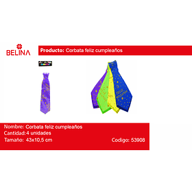 Corbata Fluor Feliz Cumpleaños 43x10.5cm 4pcs
