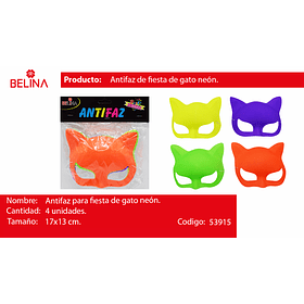 Antifaz De Gato Fluor 17x13cm 4pcs