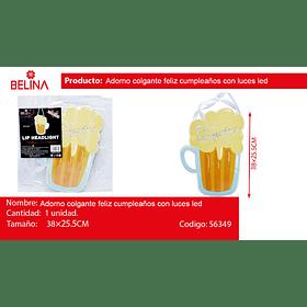 Adorno colgante chop de cerveza feliz cumpleaños con luces led