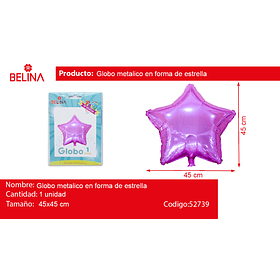 Globo Metalico Estrella Rosado Tornasolado