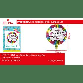 Globo metalizado colorido feliz cumpleaños 45 * 45 CM