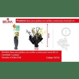 Base para globos con varillas y extensores color dorado y negro