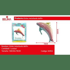 Globo metalizado delfin 100X70cm