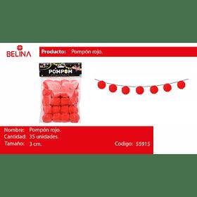Pompon rojo 3cm 35 pcs