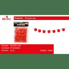 Pompon rojo 4cm 20pcs