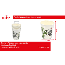 Vaso de carton panda de 9 oz 6 piezas