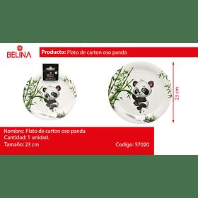 Plato de carton panda 9 pulgadas 6 piezas