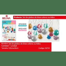 Set de globos de latex brillantes colores surtidos