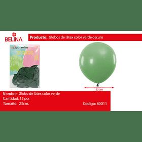 Globos 23cm 12 ud. verde oscuro