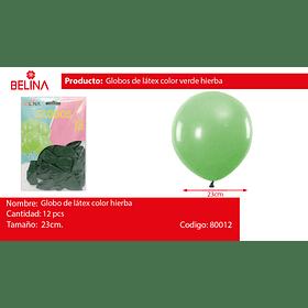 Globos 23cm 12 ud.verde hierba