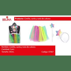 Cintillo, varita y con tutu de colores de 30cm