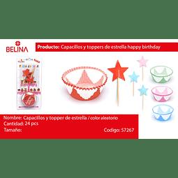 Capacillos y toppers de estrellas happy birthday 36PCS