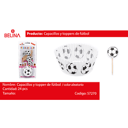 Capacillos y toppers de futbol 24PCS