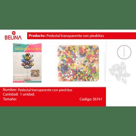 Peso para globos transparente con piedritas de colores
