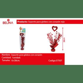 Soporte para globos con corazon 6*38cm rojo