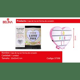 Caja de luz de corazon 22 cm  rosa