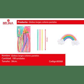 Globos Largos 100pcs 30cm Colores Pasteles