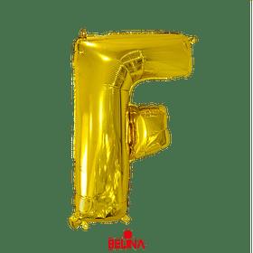 Globo letra F oro 16 pulgadas