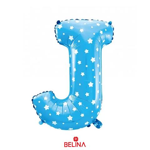 Globo letra J azul 16 pulgadas