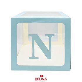 Caja Transparente Con Letras Celestes Niño 30cm
