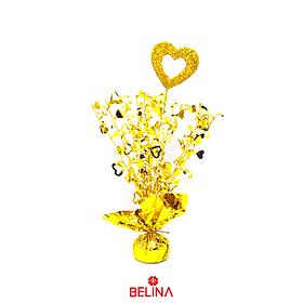 Soporte para globos con corazon 6x38cm oro