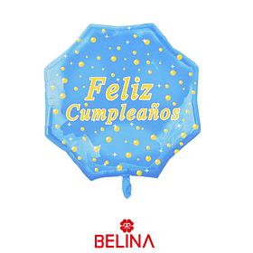 Globo metalico feliz cumpleaños  azul claro de 22 pulgadas