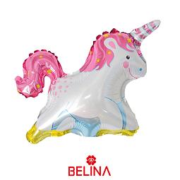 Globo metalico unicornio rosa 33 x 36cm