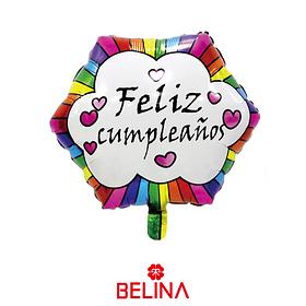 Globo metalico feliz cumpleaños hexagono colores 45x51cm