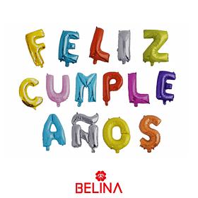 Globo letras feliz cumpleaños colores 16 pulgadas