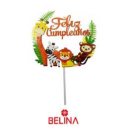 Topper Para Torta Animales/Hojas Feliz Cumpleaños 1pcs