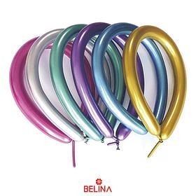 Globos Largos Cromados Multicolor 10pcs