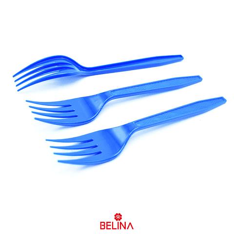 Tenedor plastico azul 12pcs
