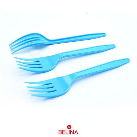 Tenedor Plastico Celeste 12pcs