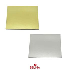 Plato torta cuadrado 30cm 2mm color aletorio oro/plata