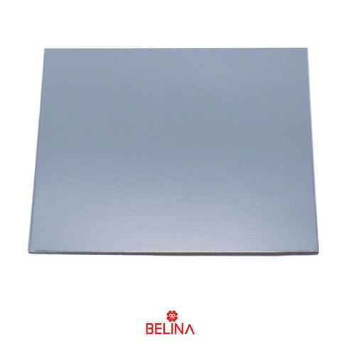 Base Cuadrada Gruesa Plata 25cm 5mm