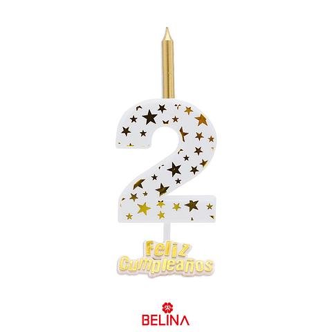 Vela Grande Feliz Cumpleaños #2  Blanco Y Dorado