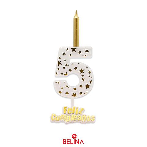 Vela Grande Feliz Cumpleaños #5 Blanco Y Dorado