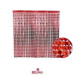 Cortina metalica roja corazones 100x200cm