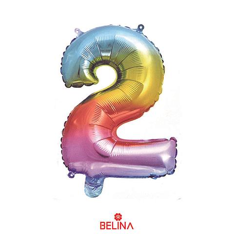 """Globo Número 2 Multicolor 16"""""""