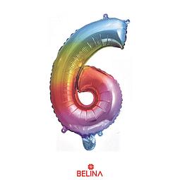 """Globo número 6 multicolor 16"""""""